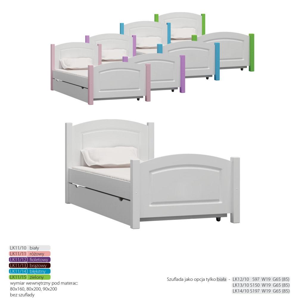 Łóżko dziecięce sosnowe - LK11