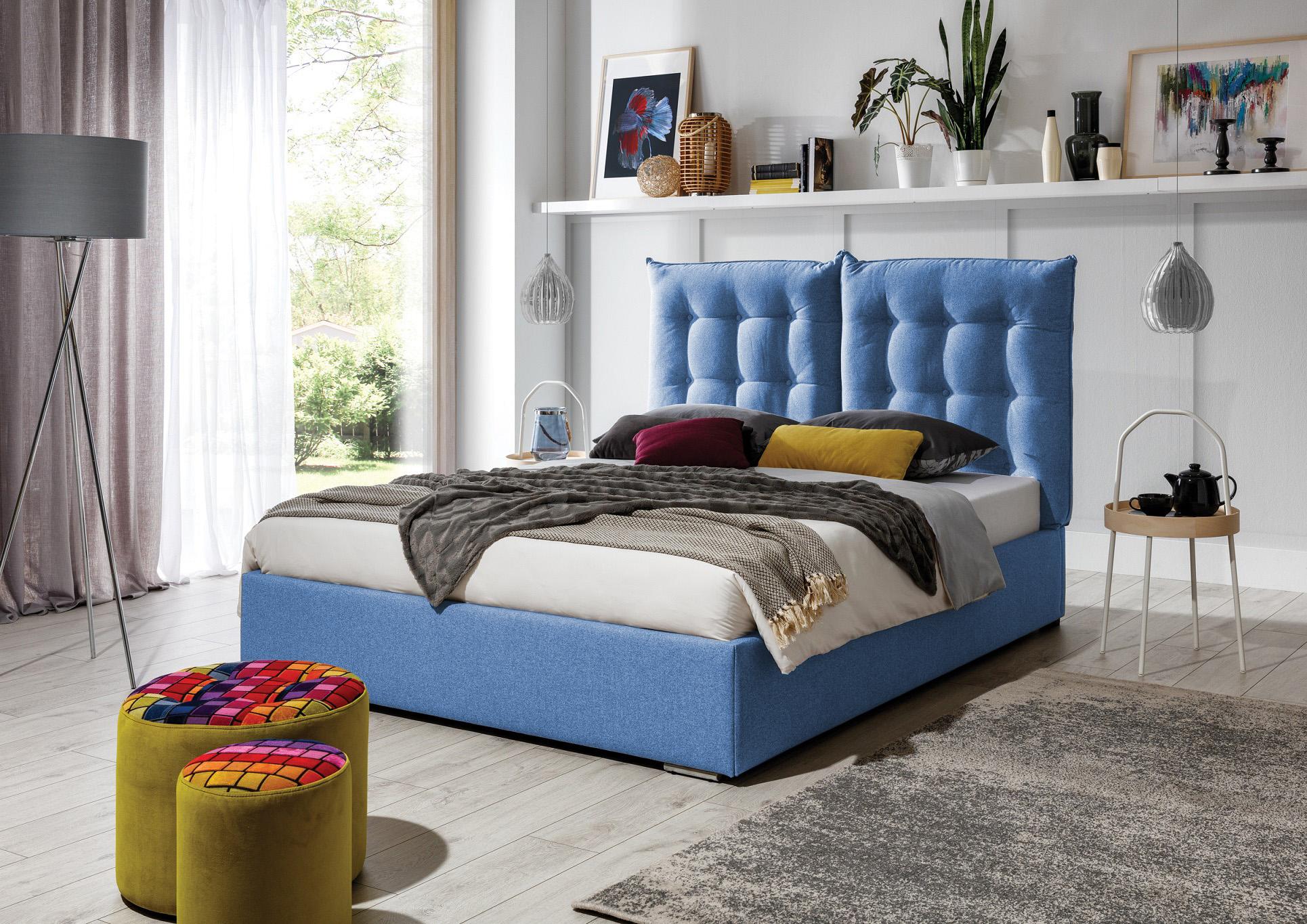 Łóżko tapicerowane SZYMON z regulowanym zagłówkiem