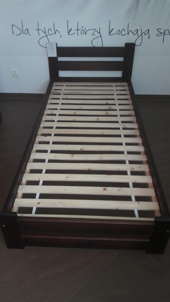 Łóżko drewniane sosnowe orzech 90x200 ze stelażem