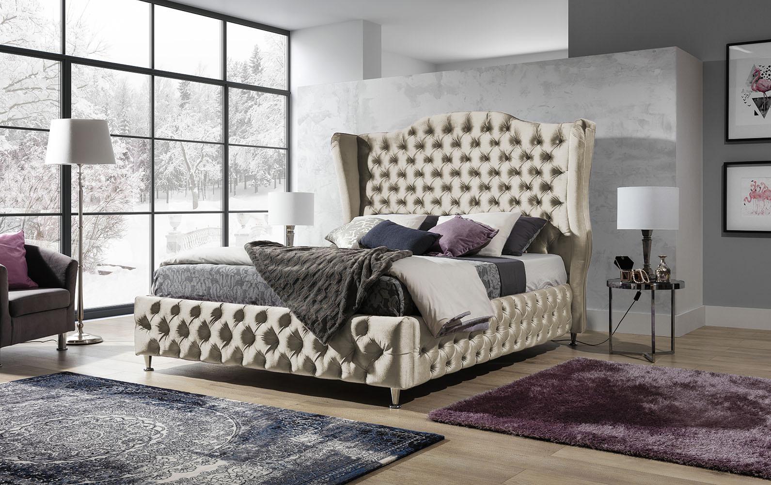 Łóżko tapicerowane BARON pikowane chesterfield w stylu Glamour