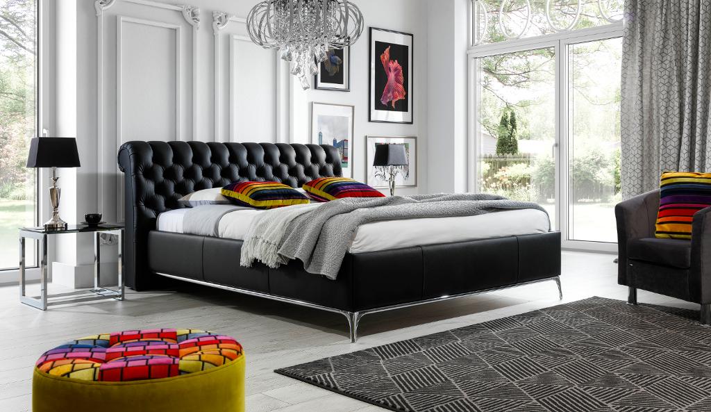 Łóżko tapicerowane KAROL pikowane Chesterfield w stylu Glamour