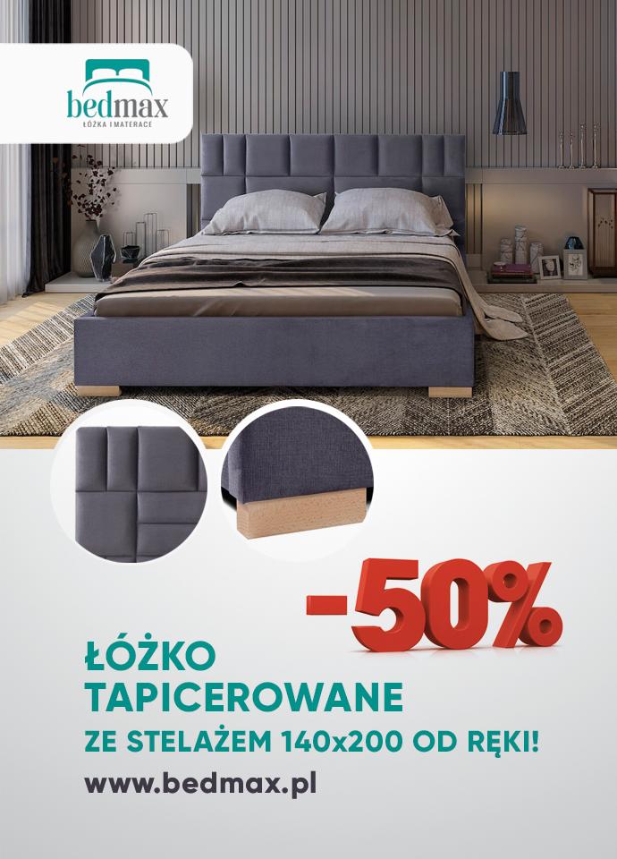 MEGA PROMOCJA -50% Łóżko tapicerowane ADAM 140x200